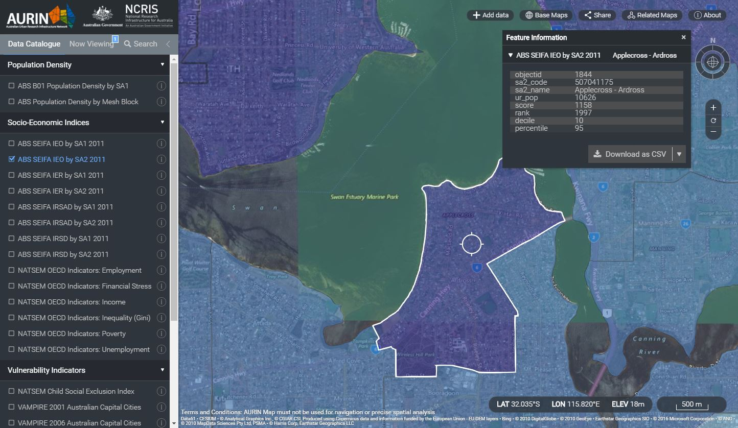 Comparing education and occupation levels using ABS data: Applecross WA (95th percentile)