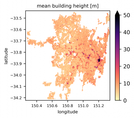 Map showing mean building height over latitude and longitude