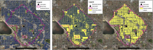 Process of Identifying Residential Land for the Nett Dwelling Density.  Image to the Left shows residential features identified from the Western Australian Valuer General's database, which is then filtered to the extent of a neighbourhood and subsequently used to spatially filter cadastral parcels.  The image at right shows the final extent of land considered residential.